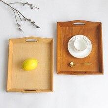 Кухонный винтажный деревянный поднос деревянный домашний продукт для хранения гостиная Настольная коробка для хранения столовой посуды фруктовый деревянный поднос
