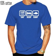 EAT SLEEP CARP T-SHIRT (Brand Fishinger Boyfriend Dad Angling Carping) 2020 New Short Sleeve Casual T Shirt Tee Plus Size