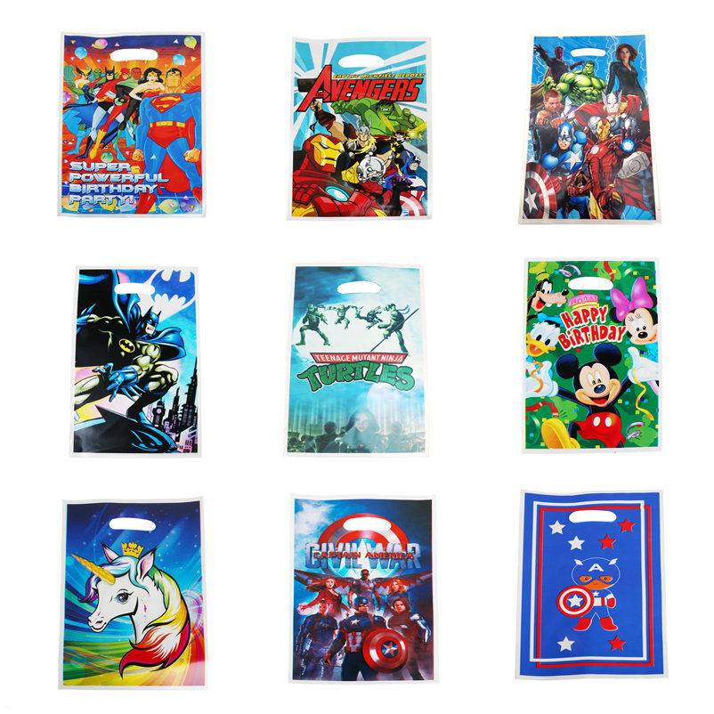 50pcs The Avengers SpiderMan Loot Bag Superhero Batman Captain America Gift Bag Kids Favor Birthday Party Decoration Supplies