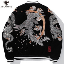 Warm Coat Embroided-Jackets Oversized Dragon Aolamegs Japanese Retro Outwear Winter Animal