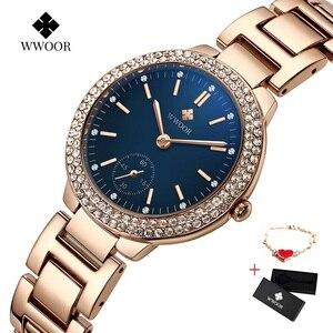 Image 2 - WWOOR damskie zegarki z diamentami luksusowa złota bransoletka damska zegarek wodoodporna stal nierdzewna Casual damski zegarek kwarcowy Reloj Mujer