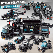 Building Blocks Robot City Police Toys Blocks Boys Vehicle Aircraft Educational Truck Blocks Compatible Model Bricks