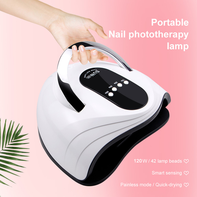 120W LED Nail Lamp Nail Dryer Dual hands 42PCS LED UV Lamp For Curing UV Gel Nail Polish With Motion Sensing Manicure Salon Tool 1
