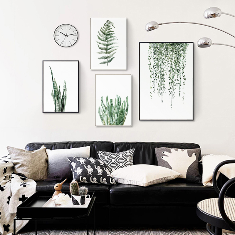 H123398078ddb49f5a7134ad90f2fa8d4A ART ZONE Tropical Plant Leaves Canvas Art Print Poster Nordic Green Plant Wall Pictures Kids Room Large Painting No Frame