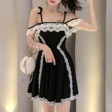 Lucyever Vestido corto femenino de encaje sin mangas para verano, minivestido Sexy de cintura alta para mujer, estilo japonés, con tirantes finos, para fiesta y Club nocturno