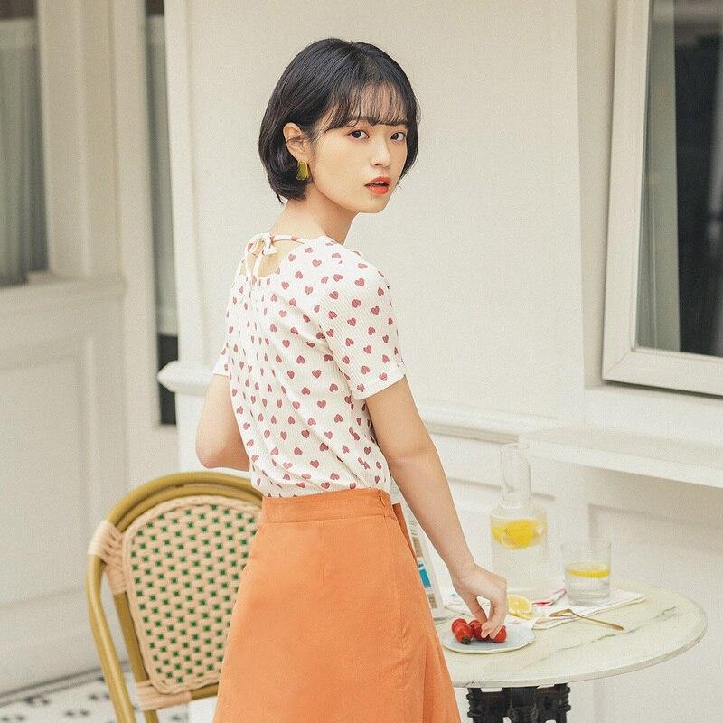 INMAN 2020 Summer New Arrival Cute Sweet Heart Pattern Print Women T-Shirt Tops