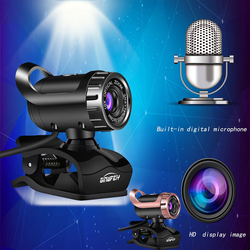 USB Web Cam HD Webcam 360 Degree Rotation Mic Clip-on PC Laptop Notebook For Android TV Rotatable Computer Camera
