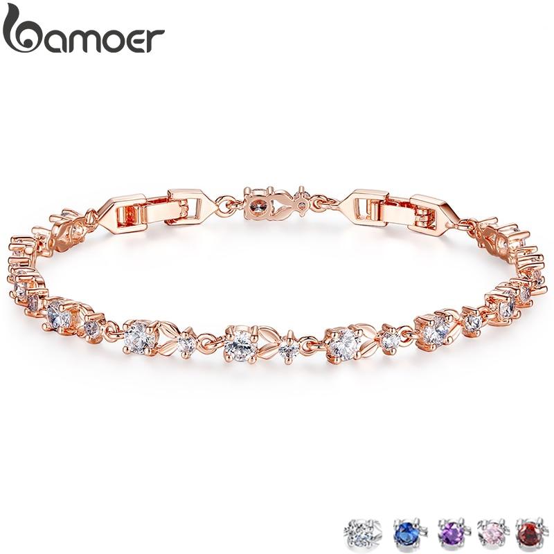 BAMOER 6 Colors Luxury Rose Gold Color Chain Link Bracelet for Women Ladies Shining AAA Cubic Zircon Crystal Jewelry JIB013|bracelet rosaries|bracelet unisexbracelet alphabet - AliExpress
