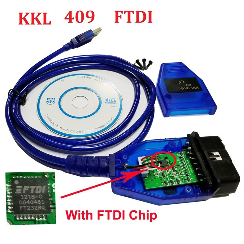 ForVAG-COM KKL 409 USB FTDI  OBD2 KKL409 Diagnostic Scanner For VAG -Series Car V-W/A-udi/S-eat Diagnostic Cable KKL 409 Cable