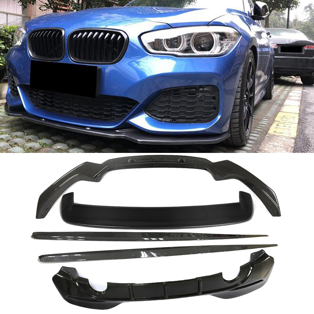 For BMW M125i M140i M135i Real Carbon Fibre front lip side skirts Rear Diffuser spoiler// M- bumper use 2018 image