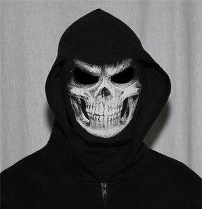 Image 2 - 3D Skull Grim Balaclava Motorcycle Volgelaatsmasker Cover Helm Liner Motorbike Fietsen Snowboard Halloween Ghost Dood Biker Mannen