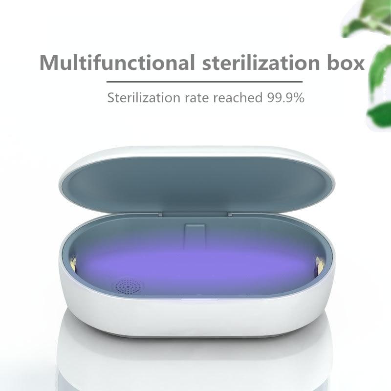 Uvc Light Ozone + Ultraviolet Disinfection Box Masks Mobile Phone Sterilizer Portable Wireless Charging Black Lights LED Protect