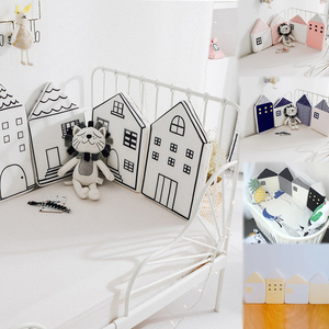 4pcs Baby Bed Bumper Little House Pattern Crib Protection Infant Cot Newborn Bedding Cute Kid Bed Fence Cotton Combination House