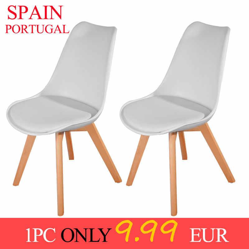 Stock en España, 1/4 Uds., Panana tulipán, silla de comedor, patas de madera maciza, asiento acolchado de plástico ABS, sala de estar, asiento de sala de café