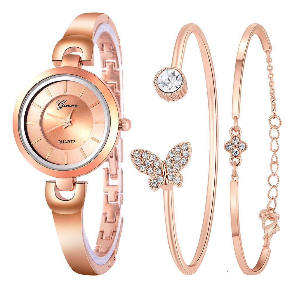 COXRY Quartz Watch Women Bracelet Suit 3pcs/set Women's Watches Luxury Brand Casual Dress Gifts For Women Rose Gold Wrist Watch