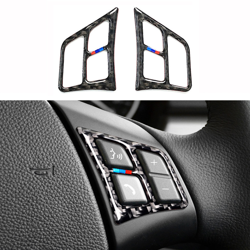 2PCS Set Car Interior Steering Wheel Buttons Stickers For BMW E90 E92 320i 318i 325i 3 Series 2005-2012 Carbon Fiber Accessories