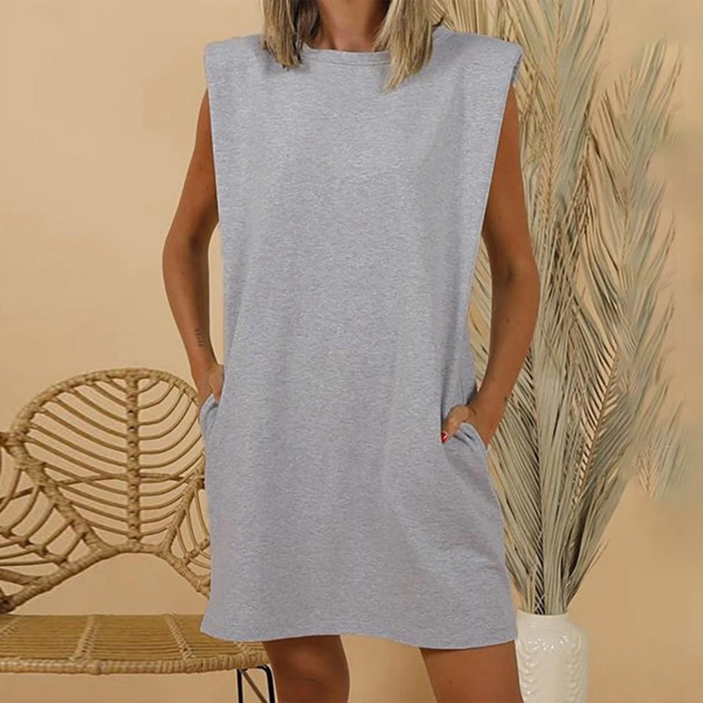 Summer Women Long Tank Top Loose Sleeveless Shirt Mini Dress Casual O-Neck Short Dress Femme Long Tops Dress Ladies