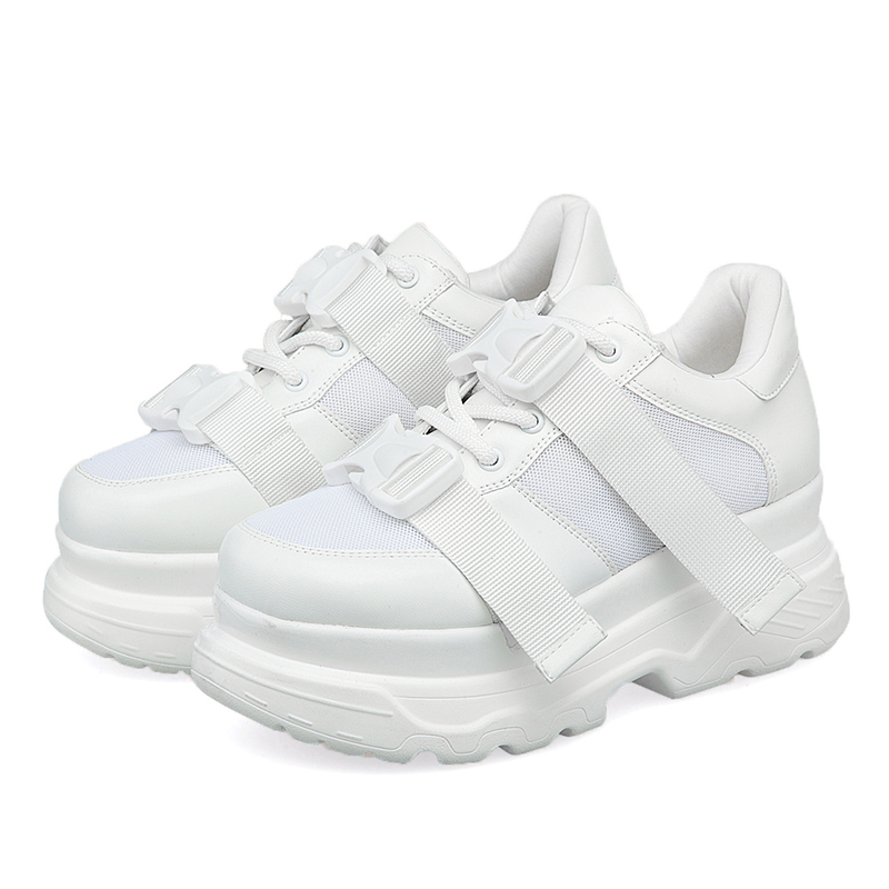 2020 Fashion Women Platform Sneakers White Mesh Buckle Chunky Sports Shoes Female Black Tennis Shoes Thick Soled Wedge Brand