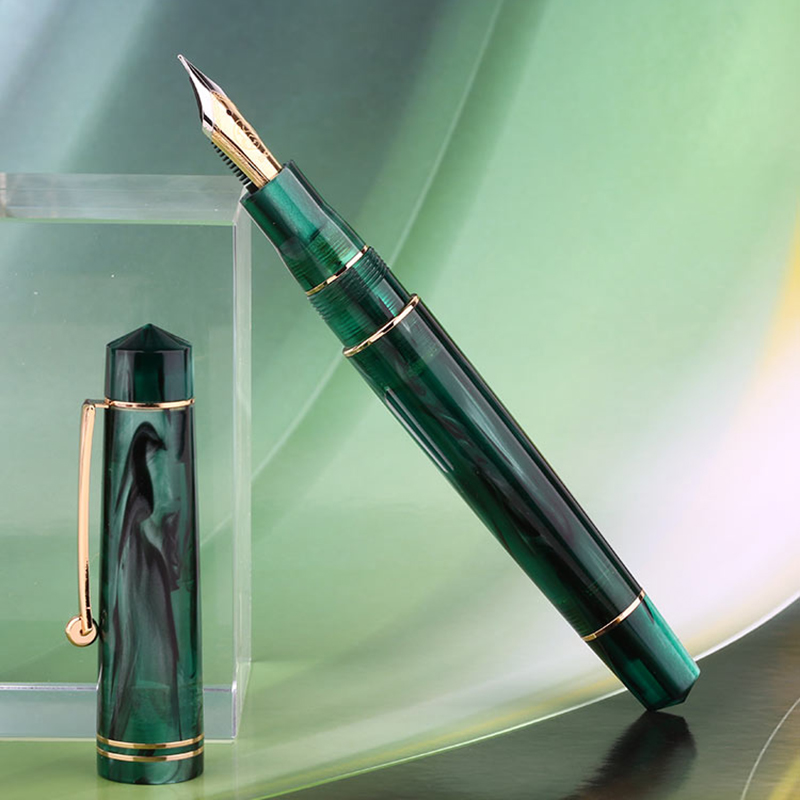 New Moonman 800 Resin Fountain Pen Germany Imported No. 6 BOCK Nib 35# 0.5mm with Converter Green Golden Clip Writing Gift Pen