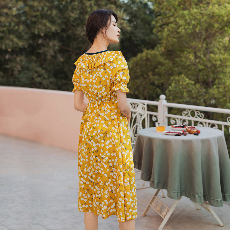 INMAN 2020 Summer New Arrival Literary Falbala V-neck Floral Nipped Waist Dress