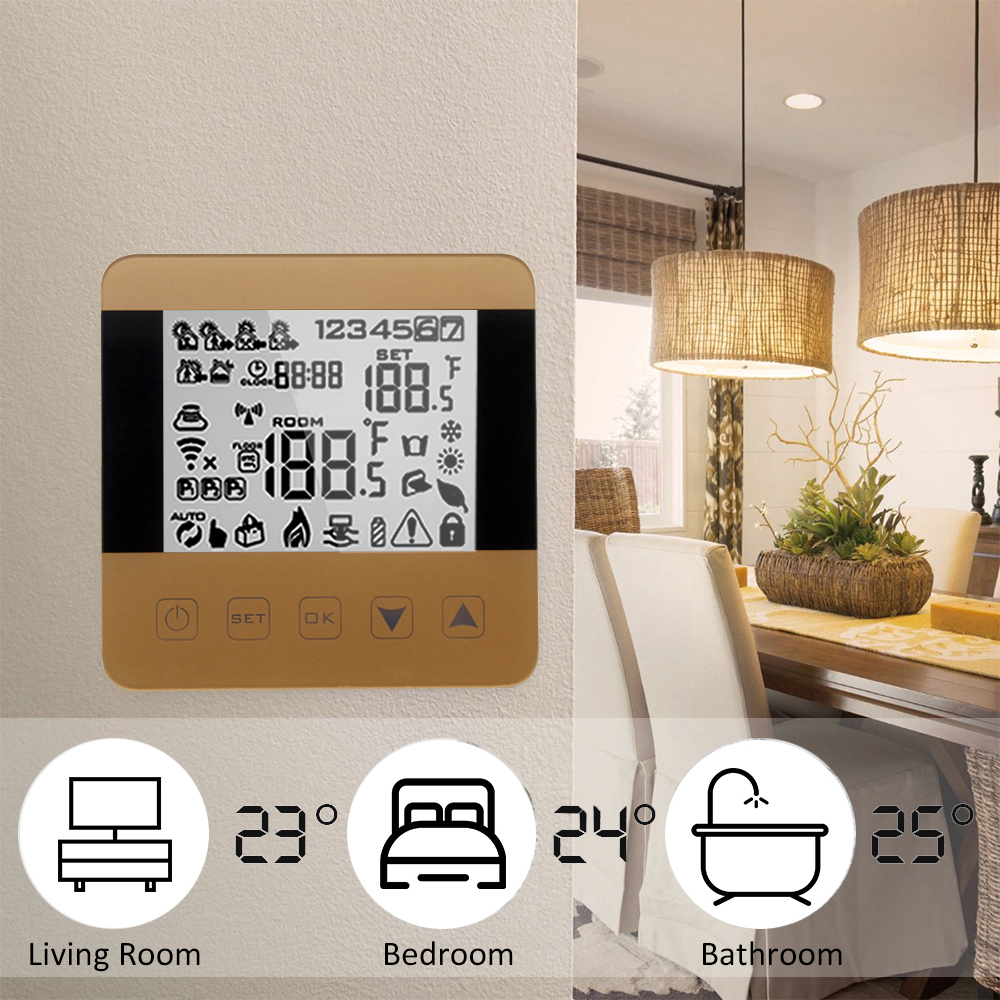 Touch Screen Bedroom Thermostat Electric Floor Heating Temperature Controller Work With Amazon Echo Alexa Wifi Thermostat