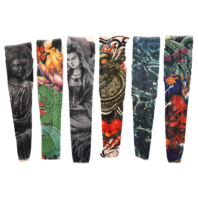 1PC Fashion Fake Tattoo Arm Warmers Cycling Sleeves Nylon Men Women Kid UV Sun Protection Outdoor Driving Arm Sleeves