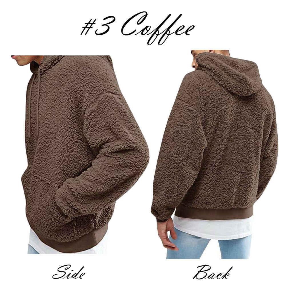 겨울 따뜻한 가짜 모피 테디 베어 까마귀 스웨터 탑스 풀오버 캐주얼 남성 후드 헐렁한 스웨터 코트 Putwear