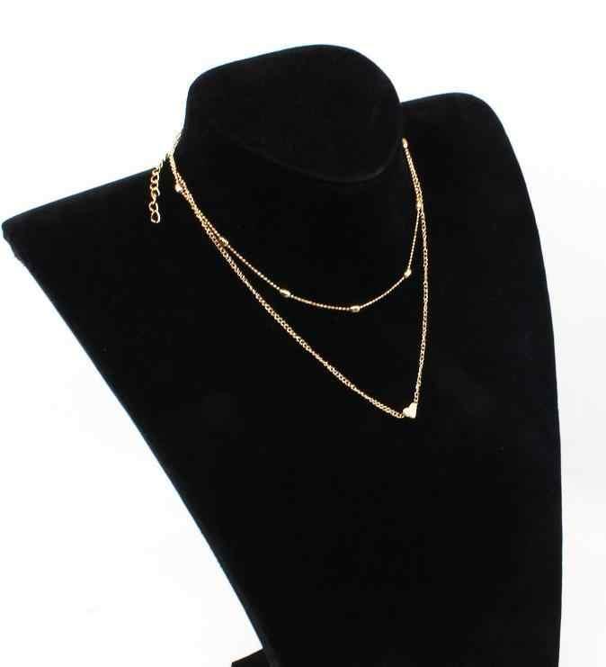Małe serce wisiorek naszyjniki dla kobiet złoty i srebrny łańcuszek Smalll miłość naszyjnik wisiorek na szyi czeski wisiorek naszyjniki biżuteria