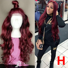 13*6 Body Wave 1b/99J Colored Lace Front Human Hair Wigs for