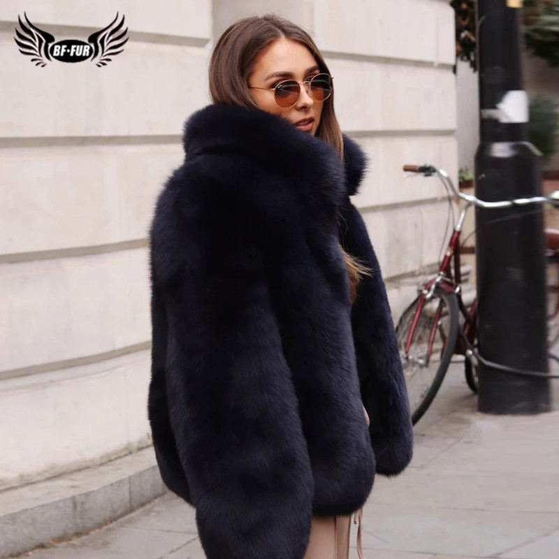 Fashion Stand Collar Women Genuine Fox Fur Coats Thick Warm Natural Full Pelt Blue Fox Fur Jacket Real Fur Overcoats Winter 2019
