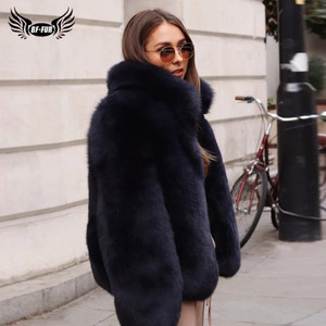 Image 1 - Fashion Stand Collar Women Genuine Fox Fur Coats Thick Warm Natural Full Pelt Blue Fox Fur Jacket Real Fur Overcoats Winter 2020