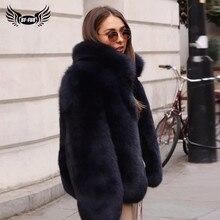Moda standı yaka kadın hakiki tilki kürk mantolar kalın sıcak doğal tam Pelt mavi tilki kürk ceket gerçek kürk palto kış 2020