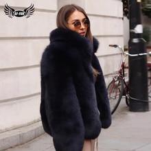 Mulheres Gola da moda Genuine Fox Fur Casacos Grossos Quentes Naturais Casaco de Pele De Raposa Azul Real Completa Pelt Fur Sobretudos inverno 2020