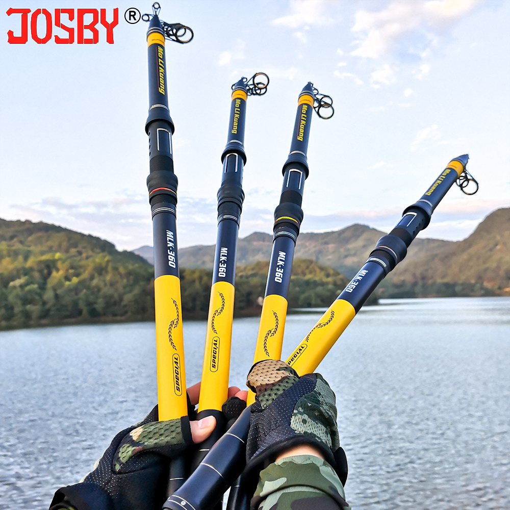 JOSBY Pesca Telescopic Fly Fishing Pole Spinning Ultra Light For Carbon Feeder Rod Tackle 2.1M 2.4M 2.7M 3M 3.6M Travel Mini