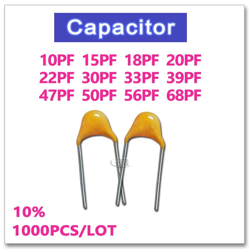 JASNPROSMA CT4 5.08mm Monolithic Ceramic Capacitor 1000PCS 50V 10PF 15PF 18PF 20PF 22PF 30PF 33PF 39PF 47PF 50PF 56PF 68PF 10% K