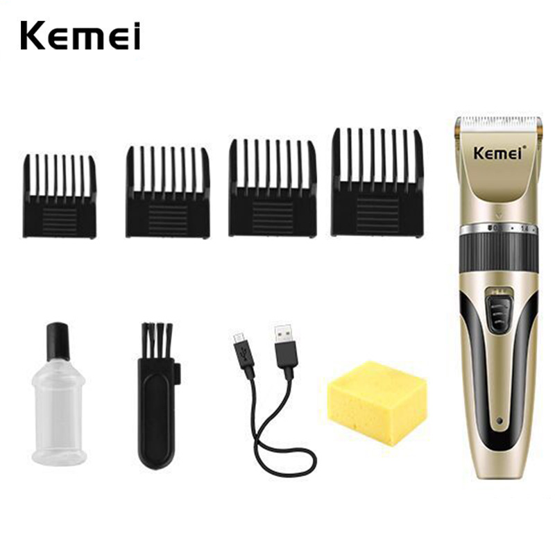 Kemei Ceramic Hair Clippers Men USB Rechargeable Cutter Electric Cordless HairTrimmer with 3-Degree Lengths Level 4 Guide Combs