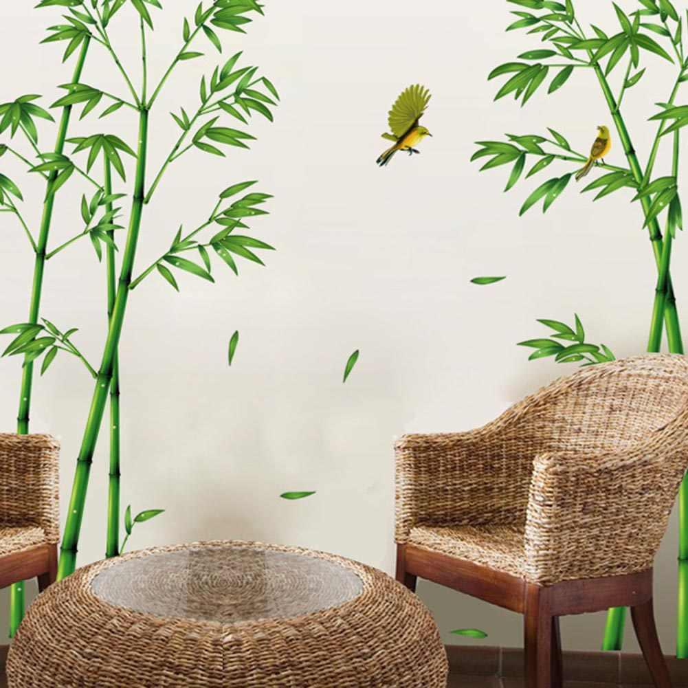 במבוק ציפורים עץ DIY ויניל מדבקות קיר בית תפאורה ילדים חדרי אמנות מדבקות 3D טפט קישוט גדול גודל