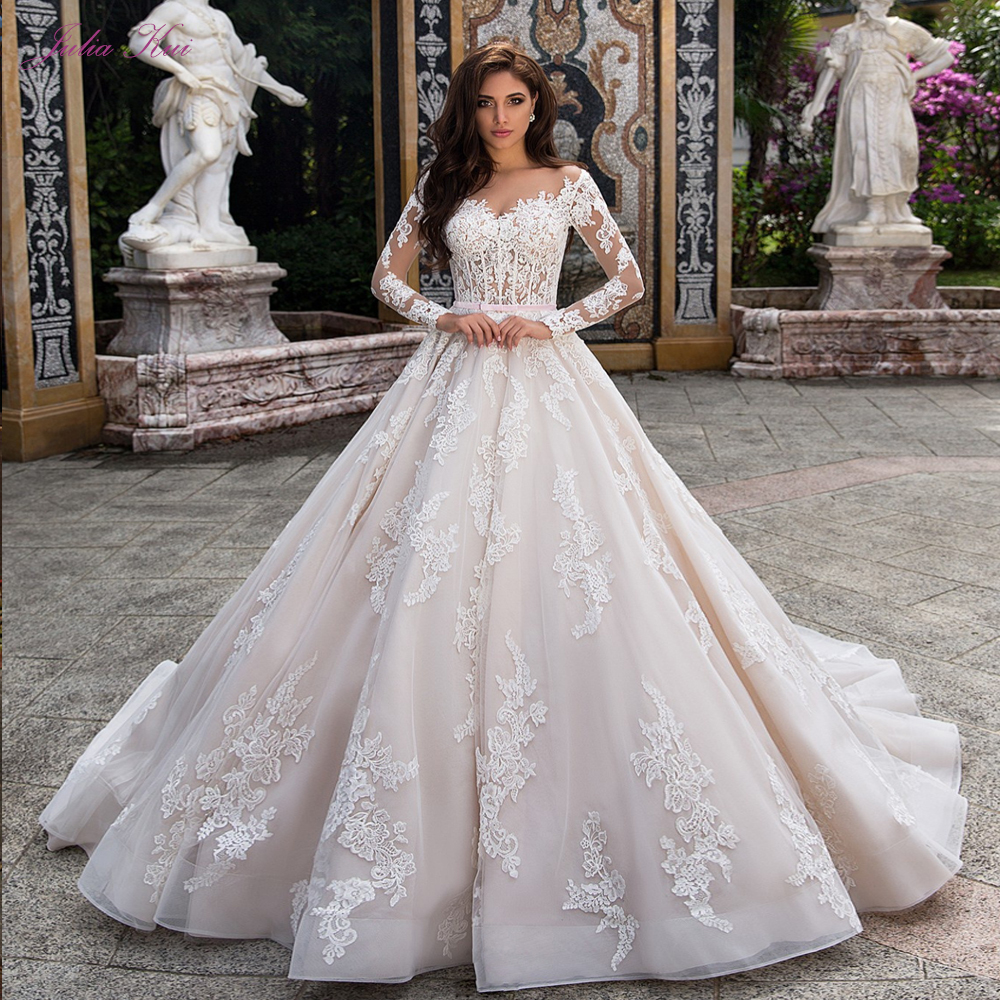 Julia Kui Gorgeous Wedding Dress A Line With Full Sleeve Button Closure Of Pink Belt title=