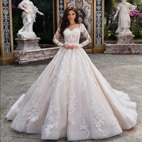 Julia Kui Gorgeous Wedding Dress A Line With Full Sleeve Button Closure Of Pink Belt