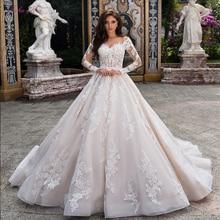 ג וליה Kui מדהים חתונת שמלת קו עם מלא שרוול כפתור סגירה של ורוד החגורה