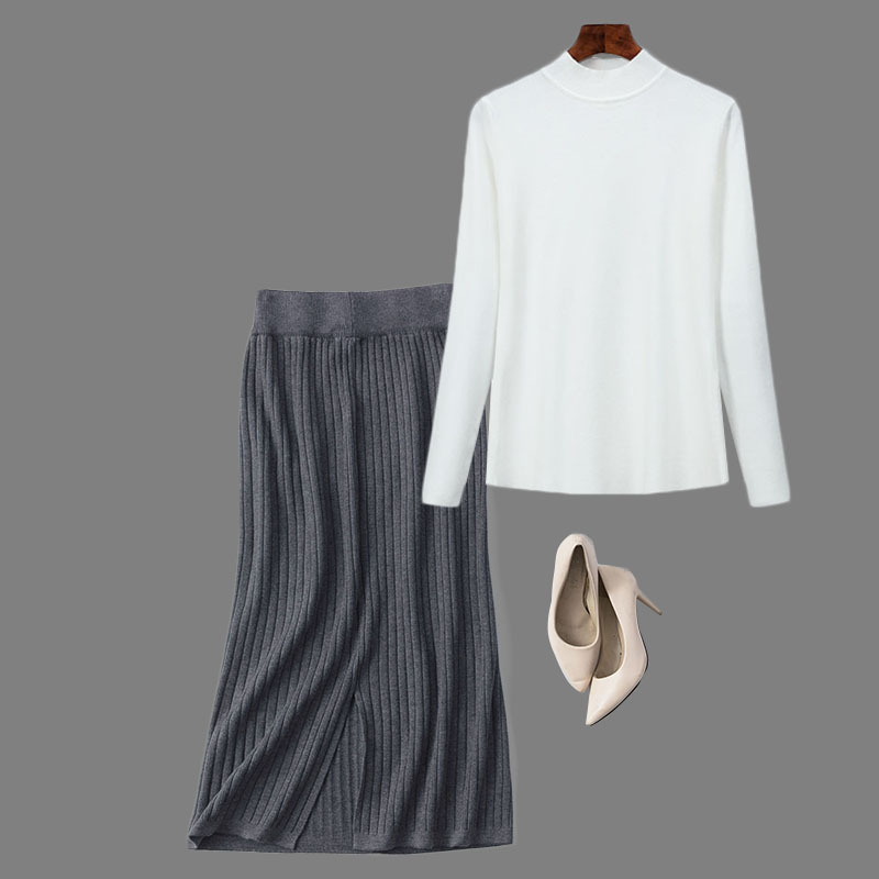 Autumn And Winter Sweater Two-Piece Skirt WOMEN'S Dress Korean-style Knitted Skirt Skirt Base Shirt