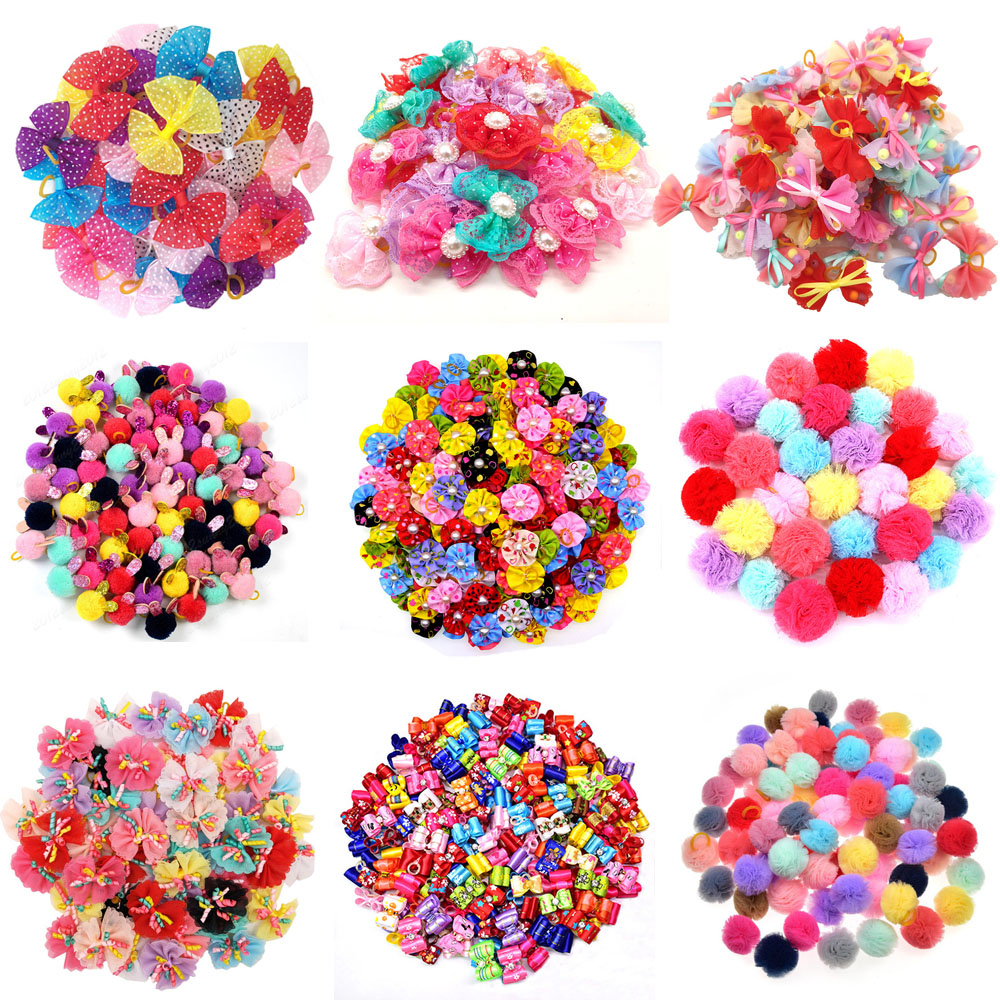 20pcs/lot Pet Dog Cat Hair Bows Mix Color Christmas Dog Hair Bows Rubber Bands Handmade Boutique Pet Grooming Accessories