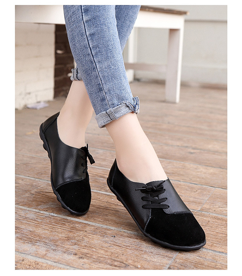 2019 New Leather Women Plus Size Sewing Flats Moccasins Loafers Ballet Flats Women Comfortable Soft Casual Shoes Ladies VT634 (28)