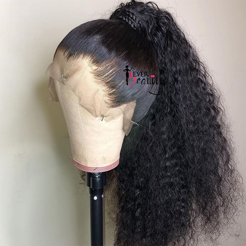 Full Lace Human Hair Wigs Pre Plucked 250 Density Curly Glueless Brazilian Deep Wave Transparent Lace Front Wigs EverBeauty Remy