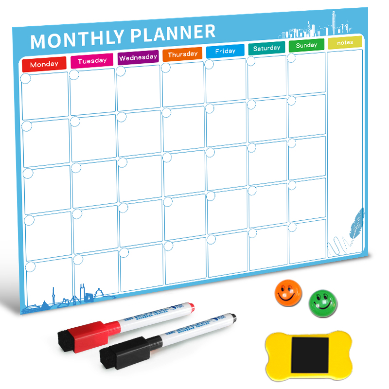 >Magnetic Whiteboard Dry Erase Board Magnets Fridge Refrigerator To-Do List Monthly Daily Planner <font><b>2019</b></font> Organizer for Kitchen
