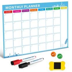 Quadro branco magnético seco apagar placa ímãs geladeira geladeira para-fazer lista mensal diário planejador 2019 organizador para cozinha