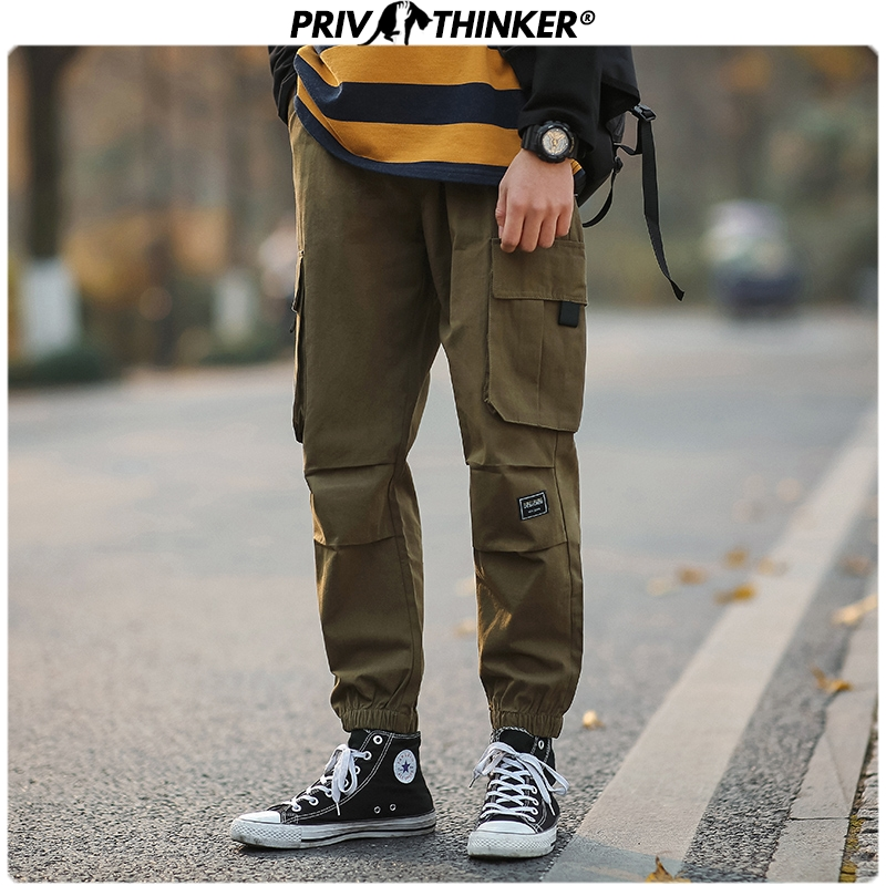 Privathinker Men Japanese Summer Loose 2020 Pockets Overalls Men's Collage Hip Hop Casual Pants Male Streetwear Unisex Clothing