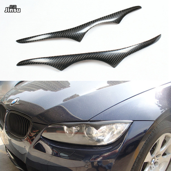 Carbon Fiber Headlights Covers Eyelids Eyebrows Trims for BMW 3 Series coupe 2 door 320i 335i 2007 2008 2009 E92 E93 Decoration image
