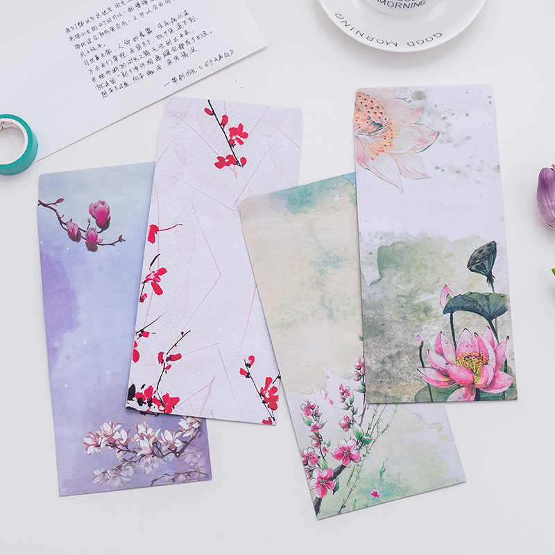 1PCs Chinese Style Paper Envelopes Colorful Floral Gift Card Collage Passionate Mailing Students Holiday Letter Paper Envelope