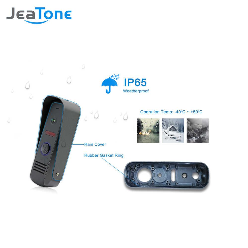 JeaTone 4 pouces vidéo porte téléphone sonnette interphone système 1200TVL touche tactile déverrouiller moniteur intérieur étanche à la pluie unité de sécurité à domicile